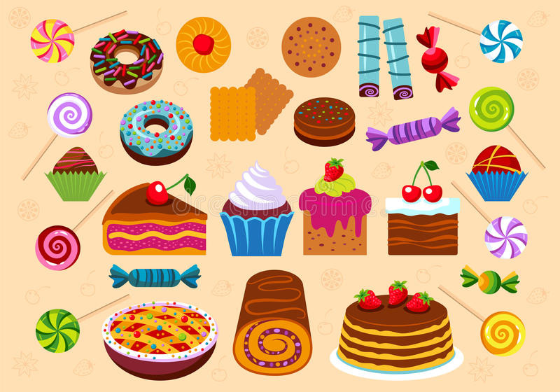 Ciasta i deseru ikony set ilustracja wektor