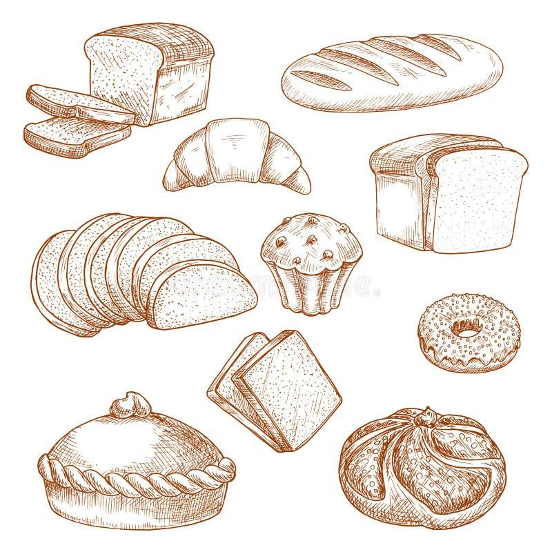 Ciasta lub piekarni jedzenie i chlebowy nakreślenie royalty ilustracja