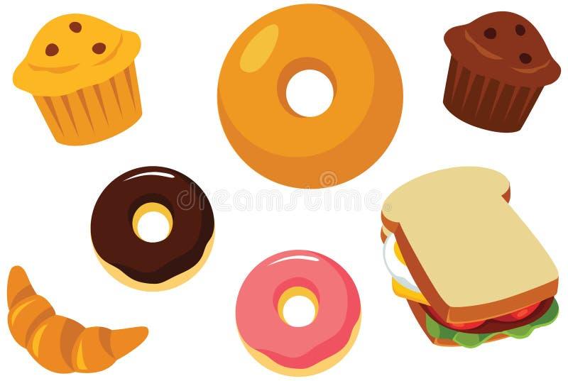Ciasta, słodka bułeczka, pączka, Bagel i kanapki wektoru ilustracja, ilustracja wektor