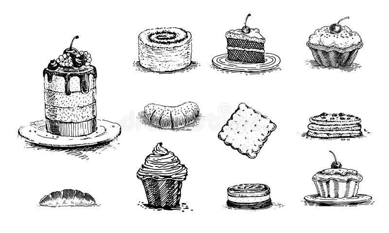 Ciasta, wiśnia tort, waniliowe babeczki, słodka bułeczka, rolki z makowymi ziarnami, babeczka z dżemem, rocznik grafika ilustracja wektor