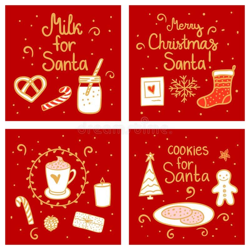 ciasteczka Santa mleka Wesoło boże narodzenia Ustawiają kartka z pozdrowieniami szablon Wektorowa ilustracyjna ręka rysujący półn ilustracja wektor
