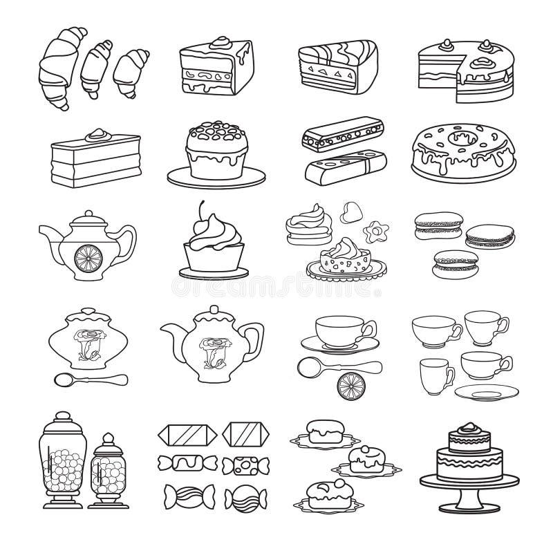 Ciasteczko ikona Set śliczne różnorodne deser ikony ilustracja wektor