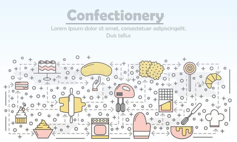 Ciasteczko kreskowej sztuki reklamowa wektorowa płaska ilustracja ilustracji