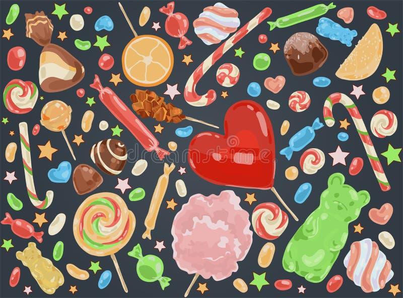 Ciasteczko produkty, wyśmienicie desery, karmel wtykają, czekoladowi cukierki, marshmallow, fruity marmoladowy, smakowity ilustracja wektor