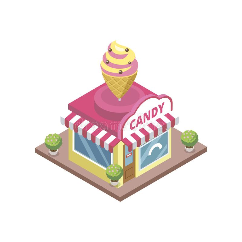 Ciasteczko sklep z lody emblematem royalty ilustracja