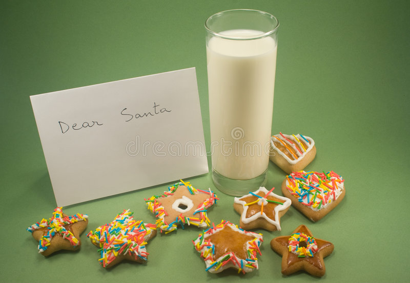 ciastek listu mleko Santa obrazy royalty free
