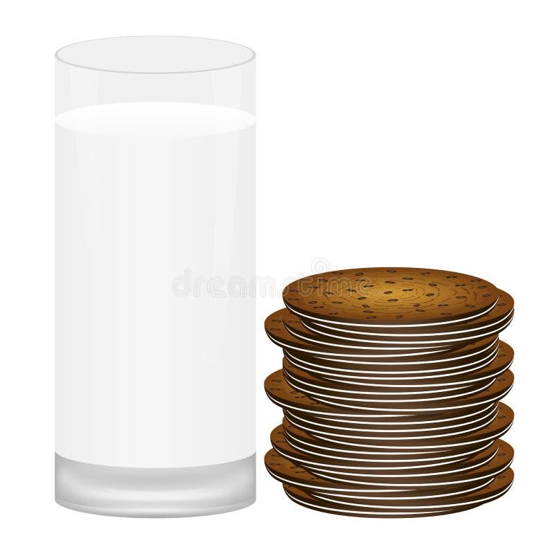 ciastek szkła mleko ilustracji