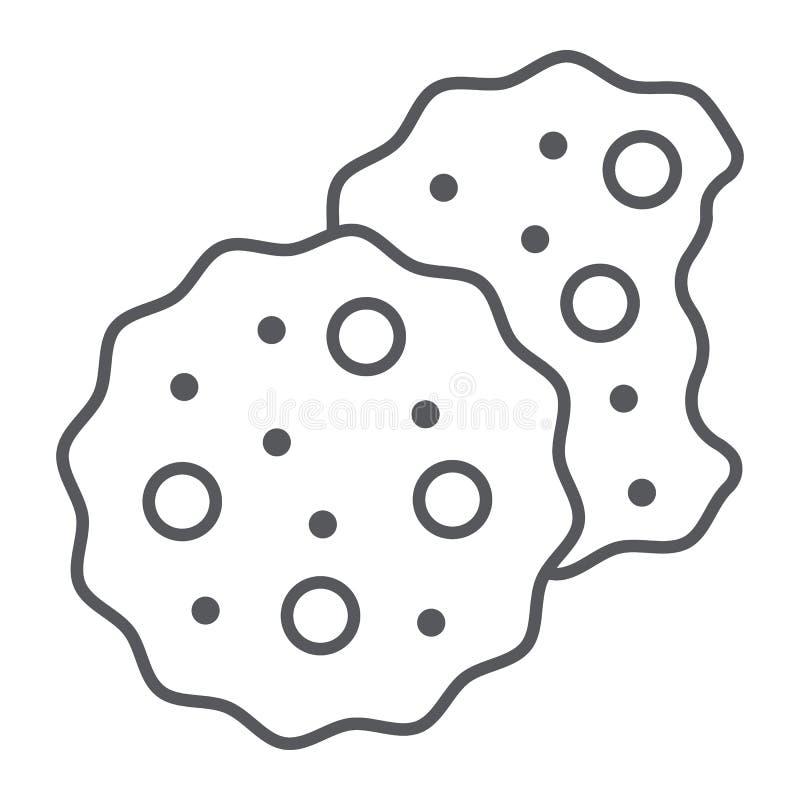 Ciastka cienieją kreskową ikonę, cukierki i jedzenie, ciastko znak, wektorowe grafika, liniowy wzór na białym tle ilustracja wektor