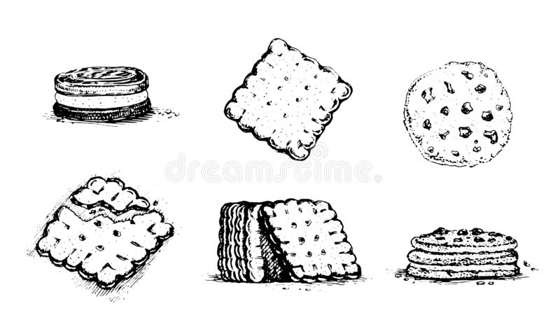 Ciastka i krakersy, rocznik grafika royalty ilustracja