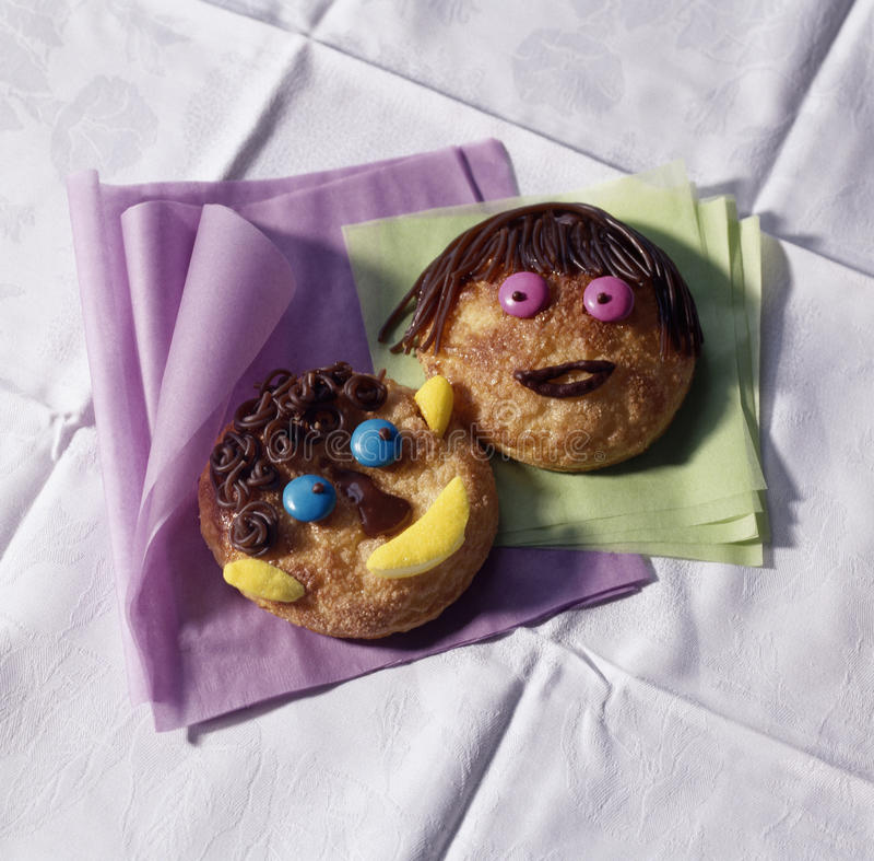 ciastka stawiali czoło śmiesznego zdjęcia stock