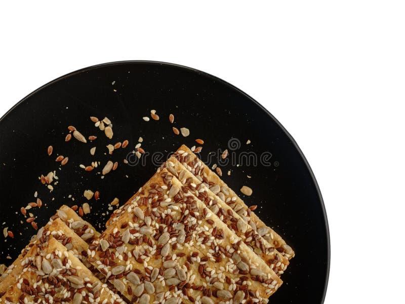Ciastka z zbożami, zdrowi ciastka z słonecznikowymi ziarnami, lnów ziarnami i sezamowymi ziarnami, zdjęcie royalty free