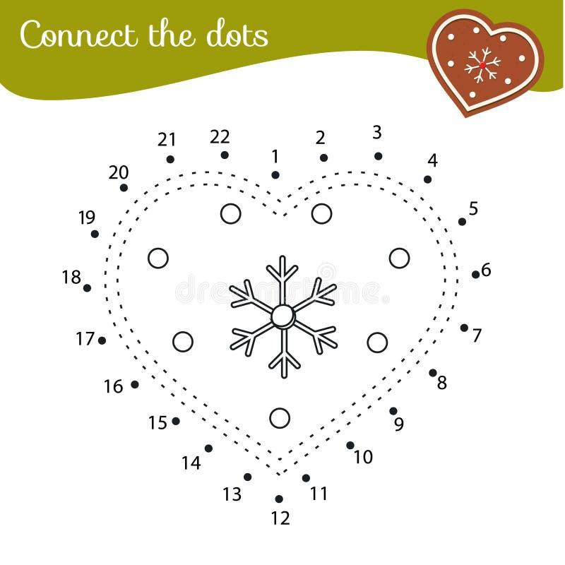 Ciastko bożonarodzeniowe Połącz kropki Aktywność kropka-kropka-kropka-kropka dla dzieci i małych dzieci Gra edukacyjna dla dzieci ilustracji