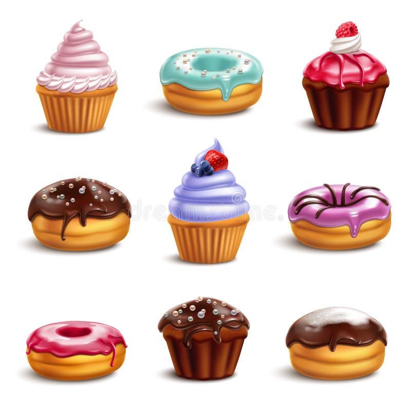 Ciastko cukierków ikony set ilustracji