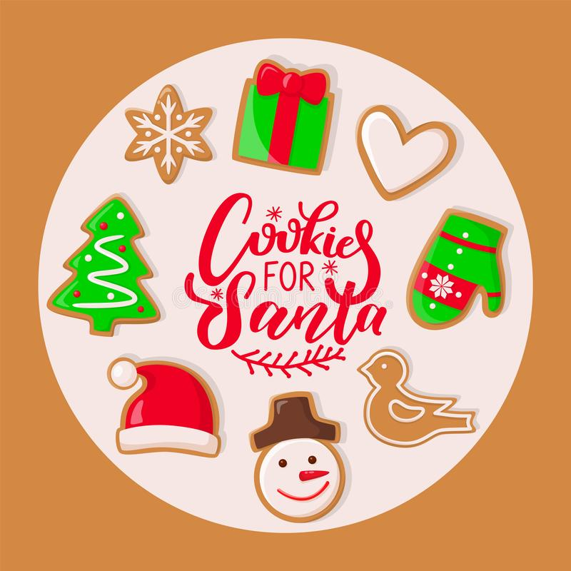 Ciastko dla Święty Mikołaj cukierków bożych narodzeń Wakacyjnych ilustracja wektor