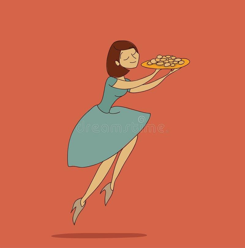 Ciastko dziewczyny doodle wektorowy ilustracyjny nakreślenie odizolowywający ilustracji
