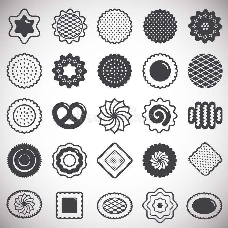 Ciastko ikony ustawiać na białym tle dla grafiki i sieci projekta Prosty wektoru znak Internetowy poj?cie symbol dla royalty ilustracja