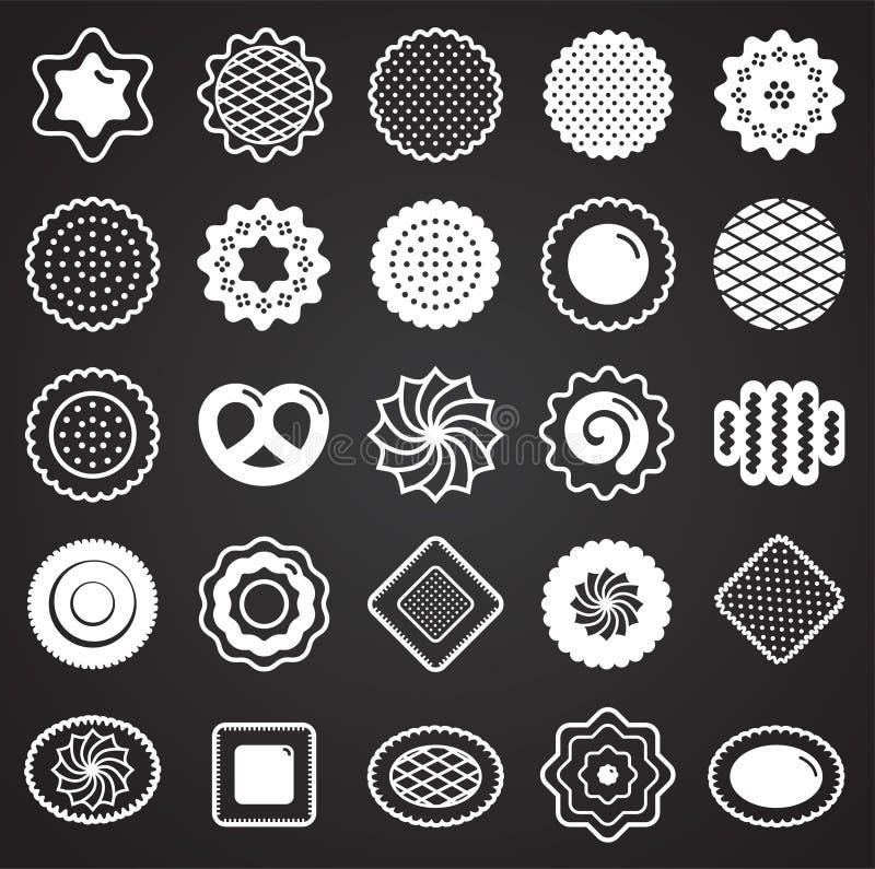 Ciastko ikony ustawiać na czarnym tle dla grafiki i sieci projekta Prosty wektoru znak Internetowy poj?cie symbol dla royalty ilustracja