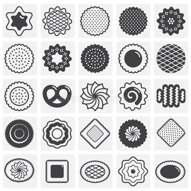 Ciastko ikony ustawiać na sqaures tle dla grafiki i sieci projekta Prosty wektoru znak Internetowy poj?cie symbol dla ilustracji