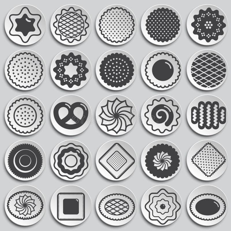 Ciastko ikony ustawiać na talerza tle dla grafiki i sieci projekta Prosty wektoru znak Internetowy poj?cie symbol dla ilustracja wektor