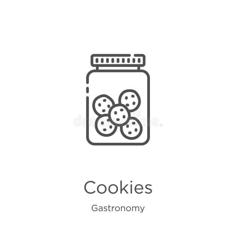 ciastko ikony wektor od gastronomy kolekcji Cienka kreskowa ciastko konturu ikony wektoru ilustracja Kontur, cienieje kreskowych  royalty ilustracja