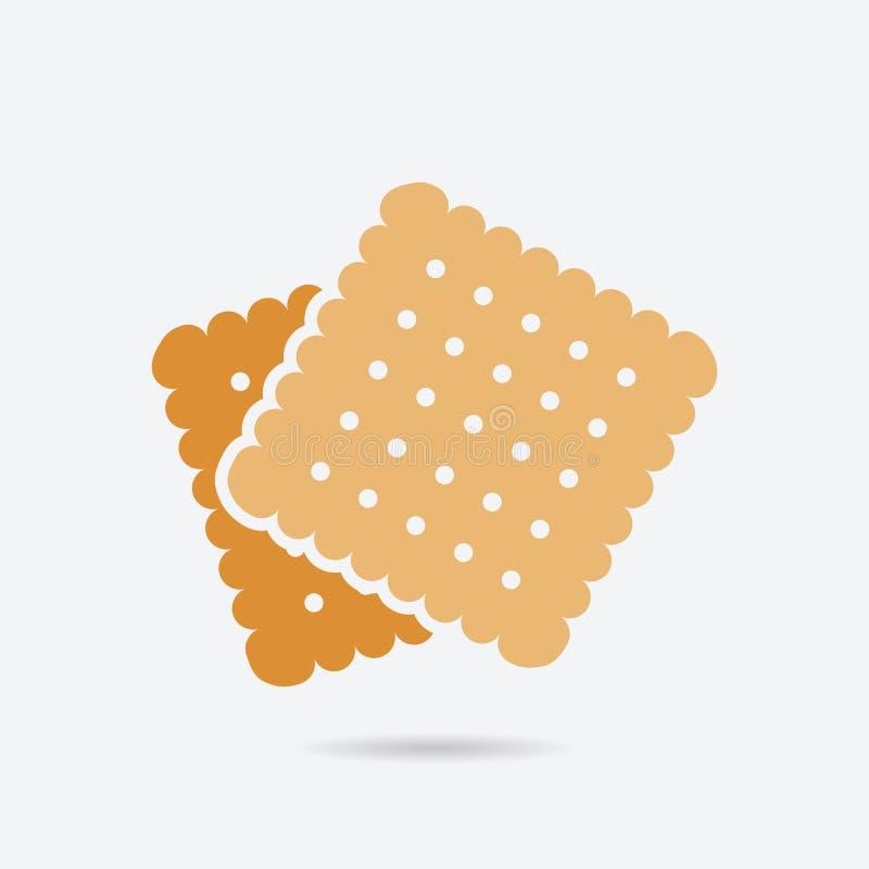 Ciastko, ciastko koloru wektoru ikona Element kuchnia dla mobilnych apps ilustracyjnych Biskwitowa płaska ikona dla strona intern ilustracji