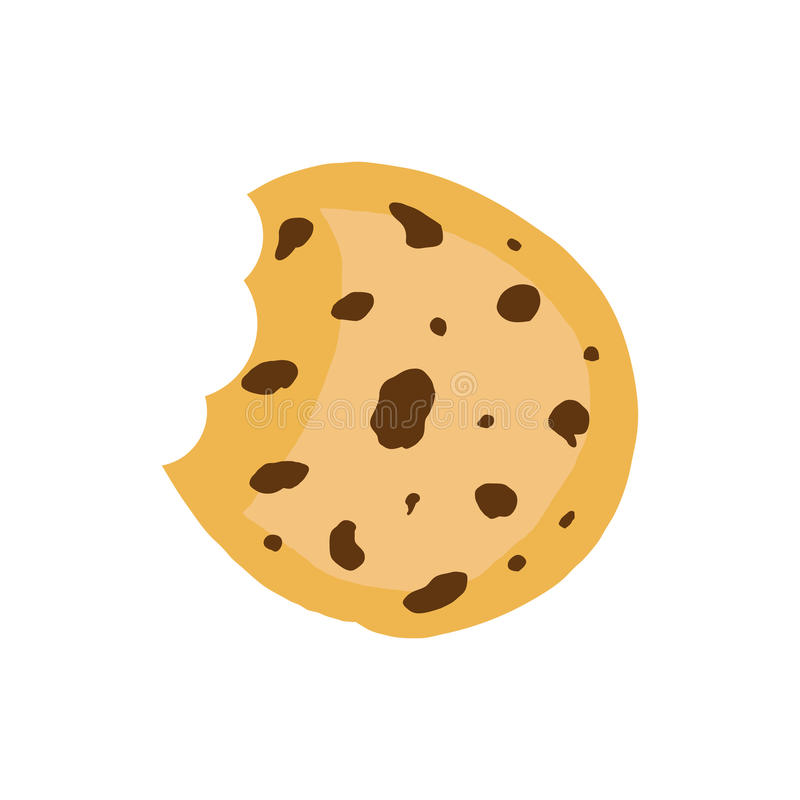 Ciastko płaska wektorowa ikona Układu scalonego ciastka ilustracja Deserowy jedzenie ilustracja wektor