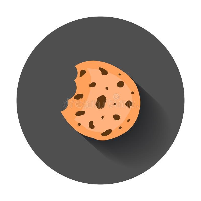 Ciastko płaska wektorowa ikona Układu scalonego ciastka ilustracja Deserowy jedzenie royalty ilustracja