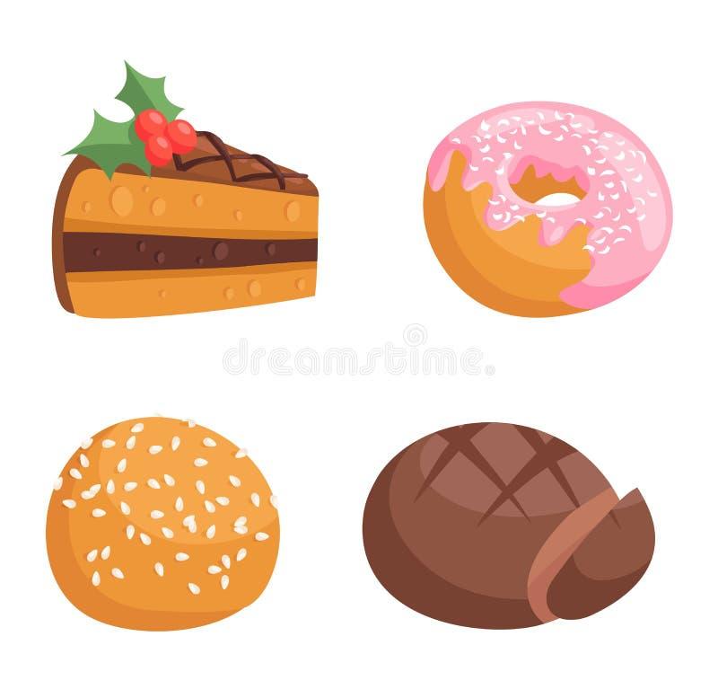 Ciastko tortów odosobniony wektor ilustracja wektor