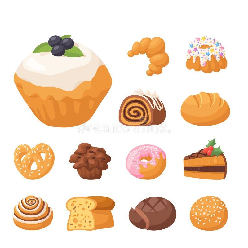 Ciastko wektoru tortów smakowitej przekąski ciastka ciasta wyśmienicie czekoladowy domowej roboty ciastko zasycha słodkiego deser ilustracji