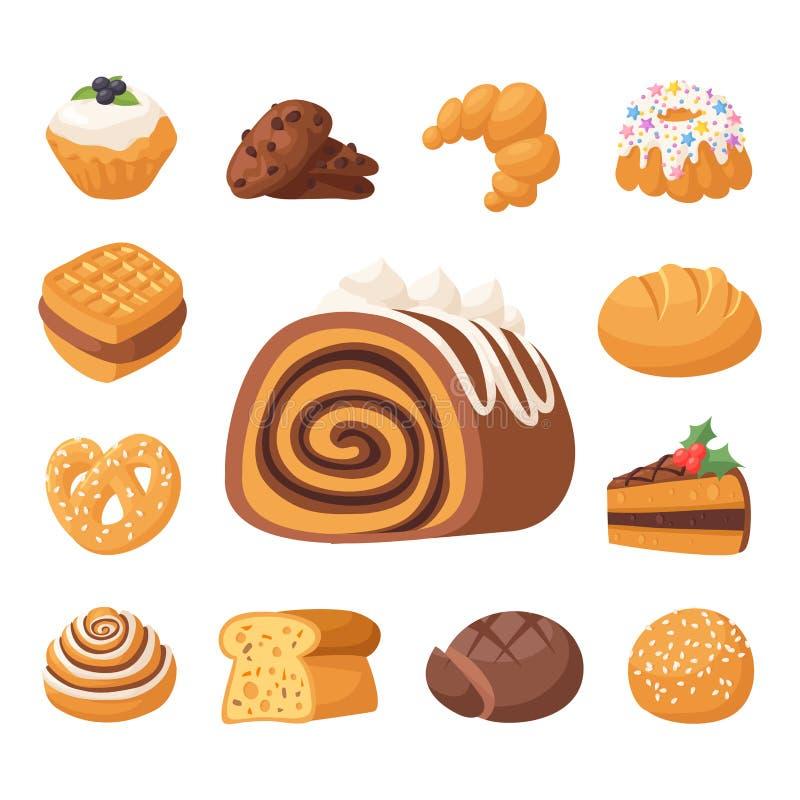 Ciastko wektoru tortów smakowitej przekąski ciastka ciasta wyśmienicie czekoladowy domowej roboty ciastko zasycha słodkiego deser ilustracja wektor