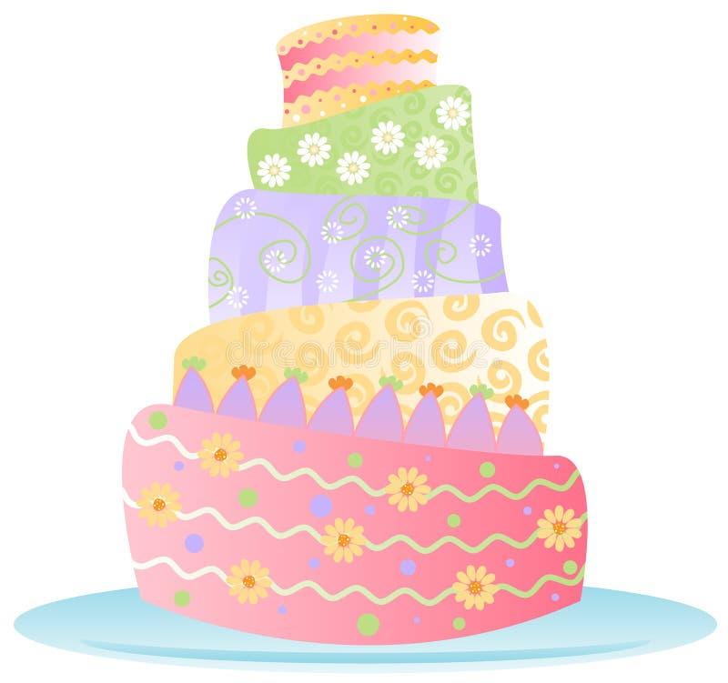 ciasto bithday izolacji ilustracja wektor