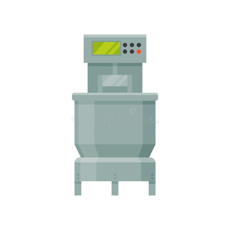 Ciasto miesza maszynę, scena chlebowy proces produkcji na białym tle ilustracji
