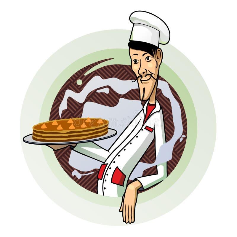 Ciasto szef kuchni royalty ilustracja
