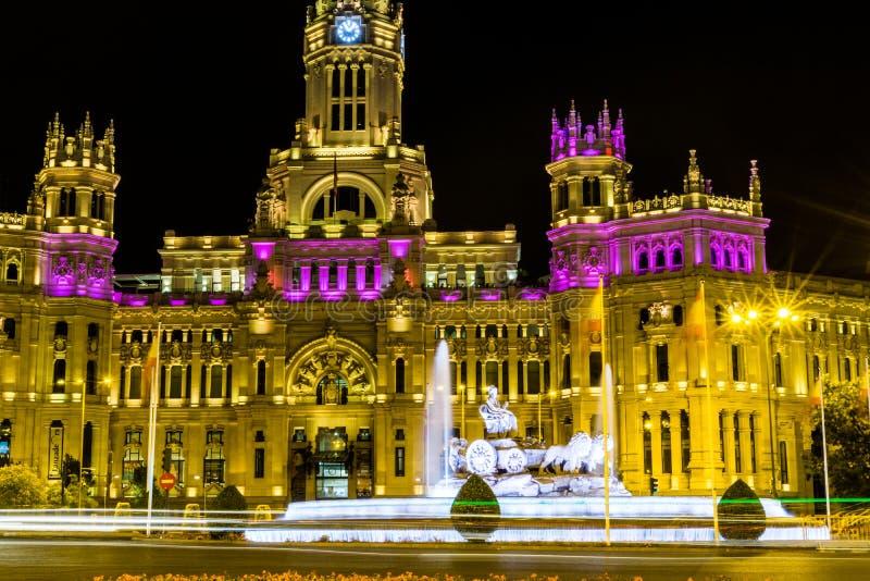 Cibeles De Telecomunicaciones w Madryt i Palacio zdjęcie stock