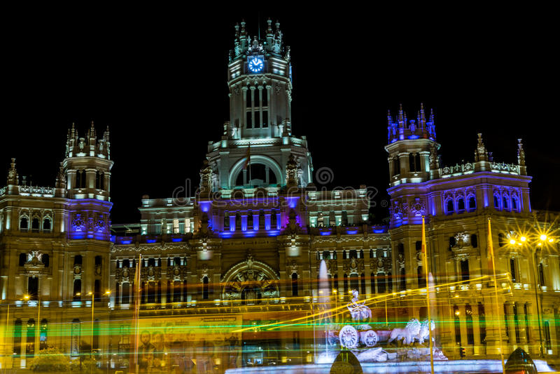 Cibeles De Telecomunicaciones w Madryt i Palacio fotografia stock