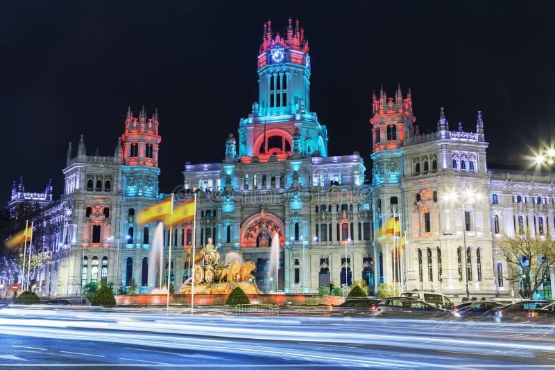 Cibeles fyrkant i Madrid, Spanien arkivbild