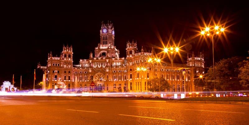 Cibeles-Quadrat nachts, Madrid stockfotos