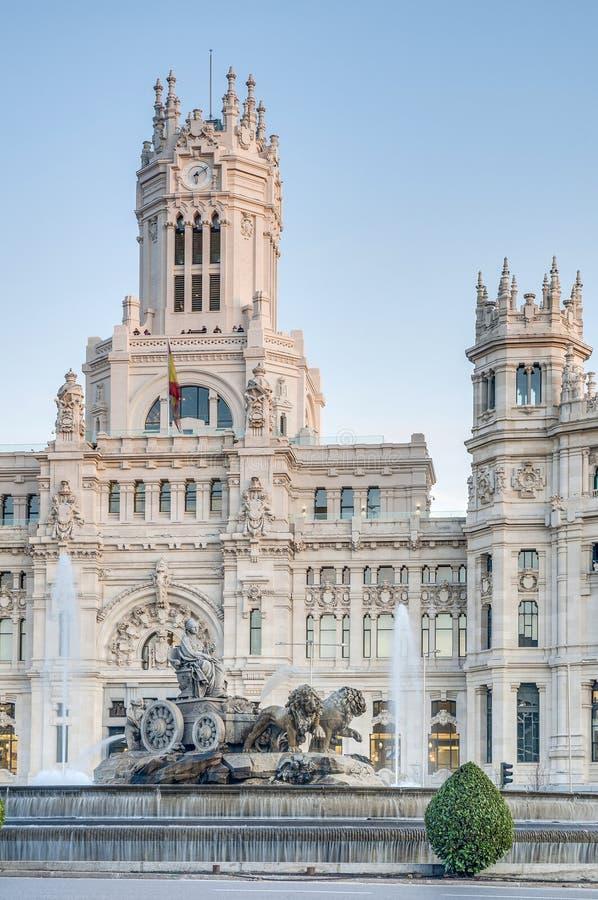 Cibeles springbrunn på Madrid, Spanien arkivfoton