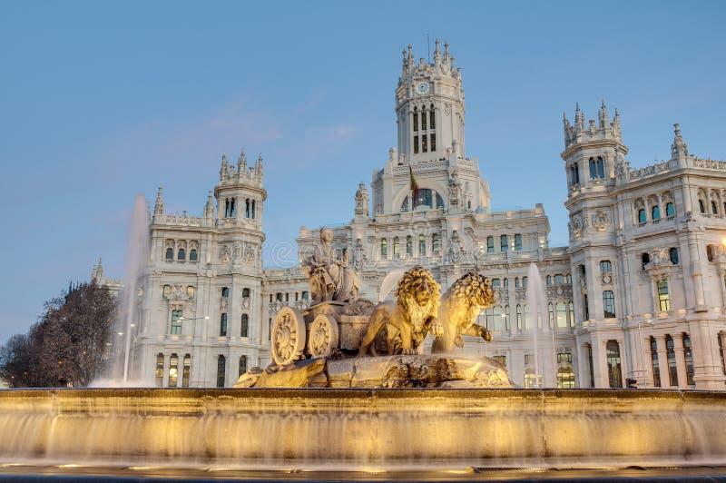 Cibeles springbrunn på Madrid, Spanien arkivbilder