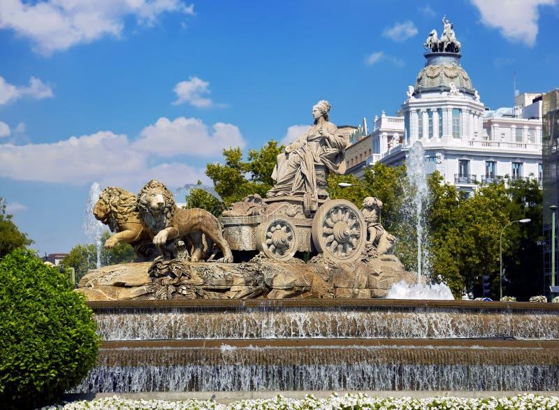 Cibeles springbrunn på Madrid, Spanien royaltyfria foton