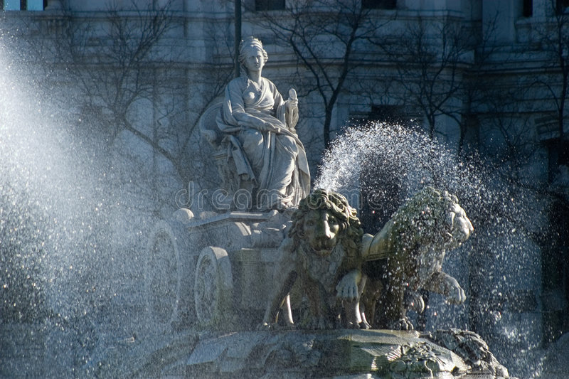 Cibeles wth water zoom royalty free stock images