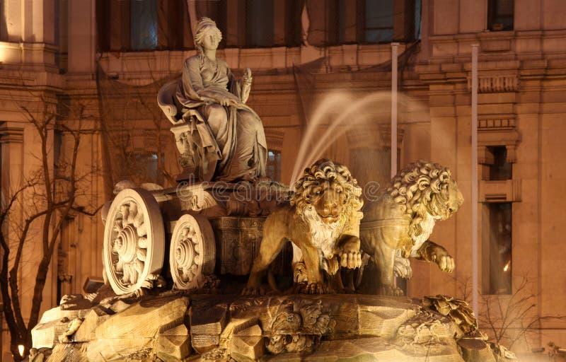 cibelesspringbrunn madrid spain royaltyfria foton