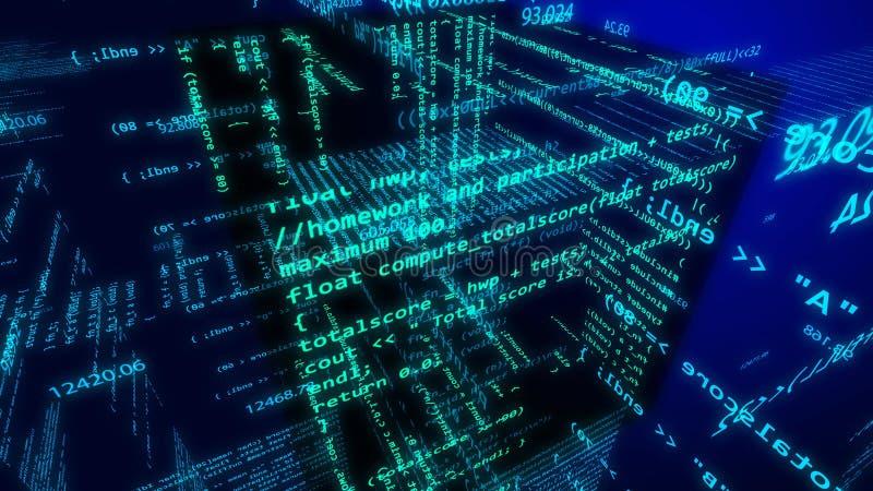 Ciberespacio de alta tecnología con los dígitos del vuelo, fórmulas stock de ilustración
