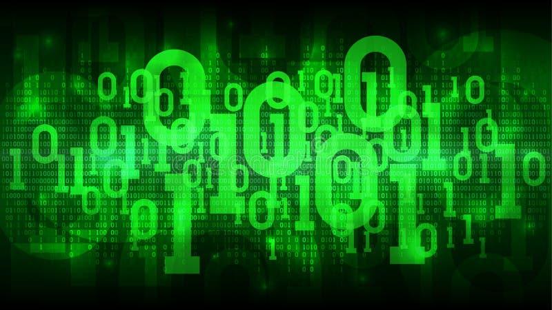 Ciberespacio futurista abstracto con el código binario, fondo verde con código digital, nube de la matriz de datos grandes ilustración del vector