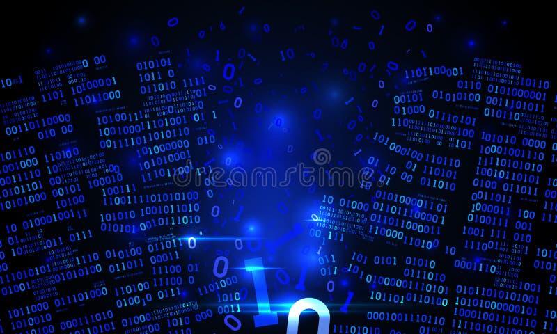 Ciberespacio futurista abstracto con un arsenal cortado de los datos binarios, código binario descendente roto, fondo de la matri ilustración del vector