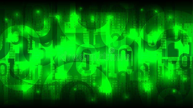 Ciberespacio que brilla intensamente futurista abstracto con el código binario, fondo verde con los dígitos, nube de la matriz de stock de ilustración