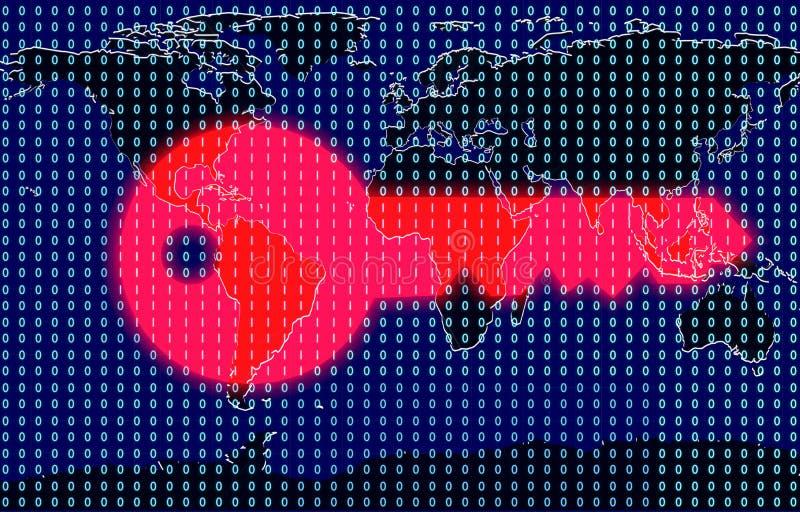 Cibernético-seguridad global, cibernético-guerra, encripción imagen de archivo libre de regalías
