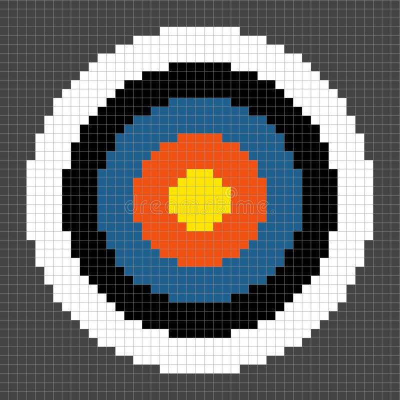 cible à 8 bits de tir à l'arc de Pixel-art illustration stock