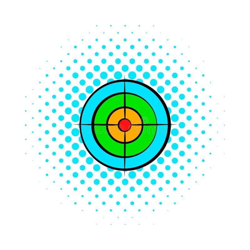 Cible avec l'icône de bandes dessinées de boule de paintball illustration stock
