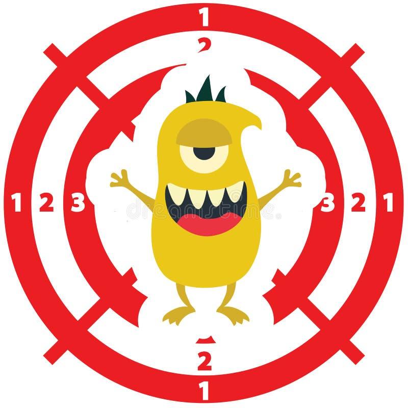 Cible avec la couleur plate de jaune de style de monstre sur le fond blanc illustration libre de droits